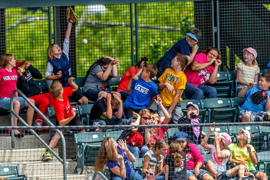foul ball, kids day at Salt Lake Bees, SpringMobile Ballpark