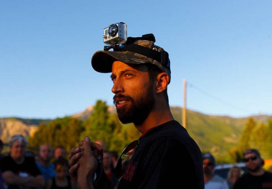 Activist Jesse Fruhwirth with a GoPro camera