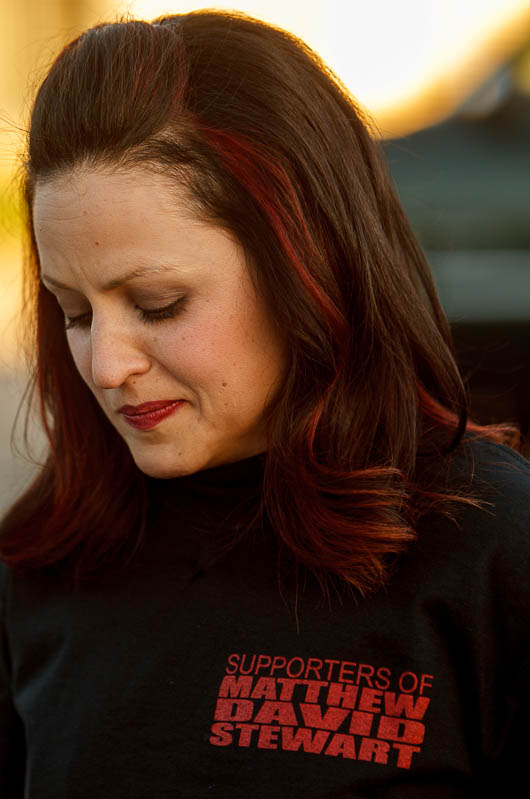 Erna Stewart emotionally spoke of her brother-in-law, Matthew Stewart, prior to a march in his memory, Wednesday June 5, 2013 in Ogden.