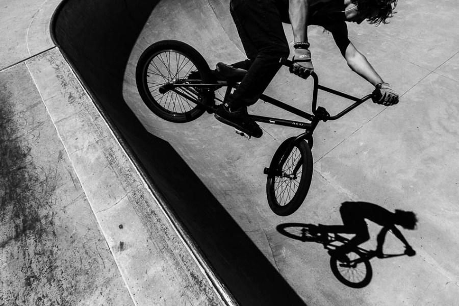 Devan Latturner catches air on his BMX bike at the Layton City skatepark