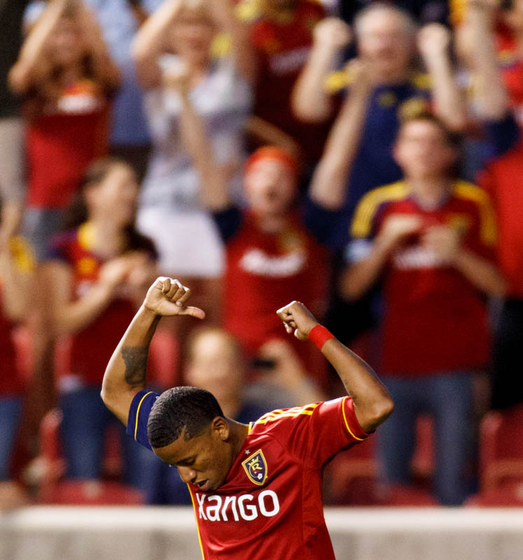 Real Salt Lake's Joao Plata celebrates his second half goal as Real Salt Lake hosts Charleston Battery in the US Open Cup Wednesday June 12, 2013 at Rio Tinto Stadium in Sandy, Utah