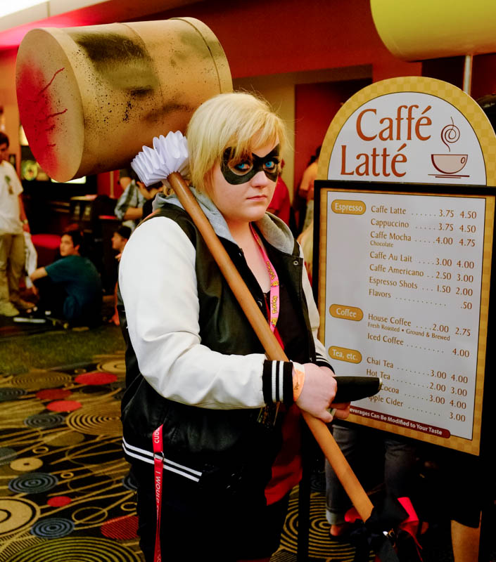 Asia Kelson, dressed as Harley Quinn, stops in for a snack at Caffe Latte, during Salt Lake Comic Con