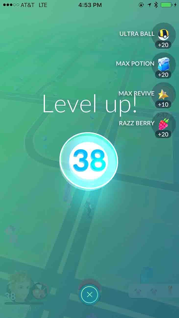 pokemon go, level 38
