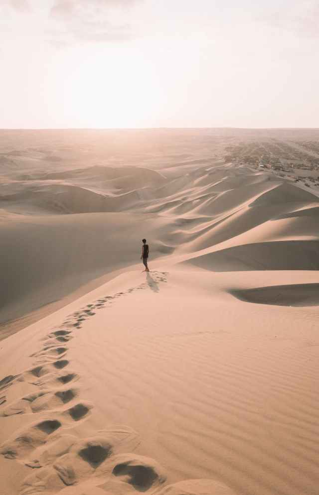 high angle shot of a person walking alone in the desert