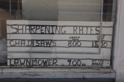 Sharpening Rates sign