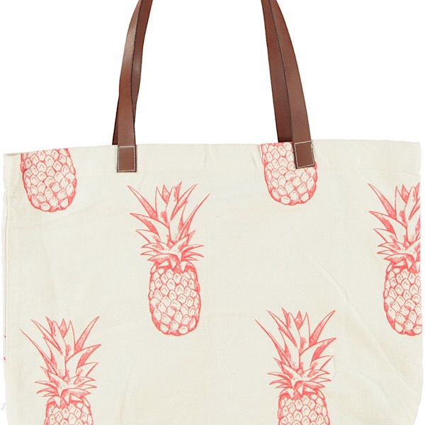 Beach bag cotton pineapple design with faux leather handles Turquoise and red