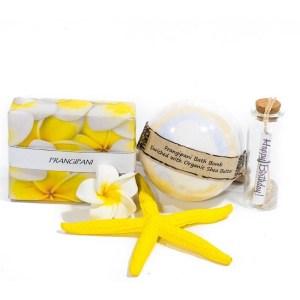 Frangipani soap and bath bomb