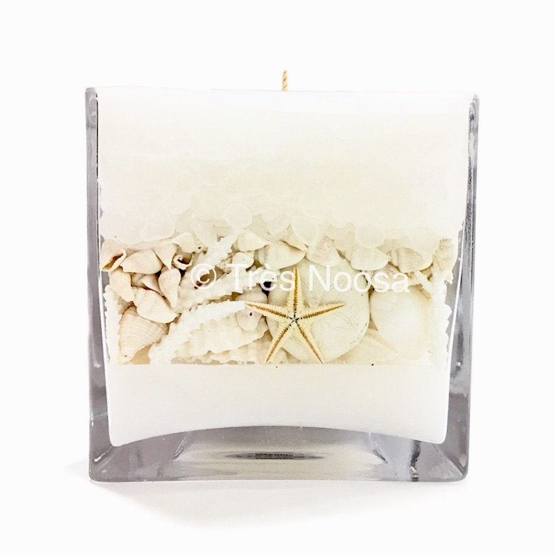 Unique shell candle made in Noosa, Australia