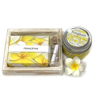 Frangipani soap and candle giftpack