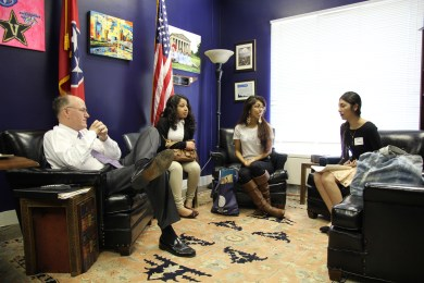 Students met with Sen. Steven Dickerson in March during Tuition Equality Day on the Hill