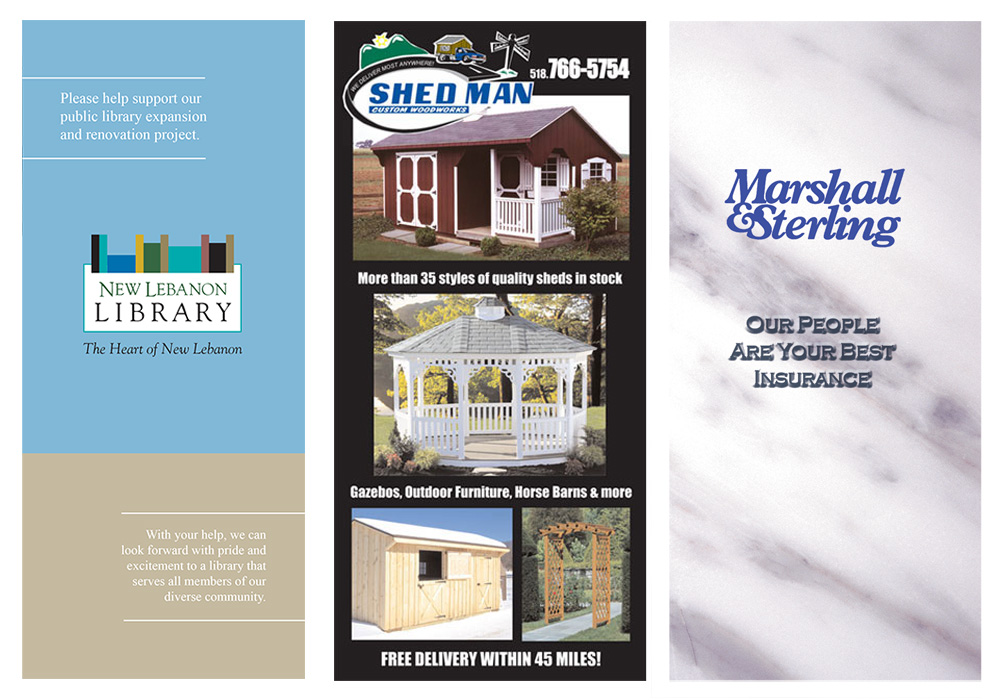 Brochure design for the New Lebanon Library, Shed Man, and Marshall and Sterling Insurance - designed by Trevellyan.biz, Columbia County's graphic designer