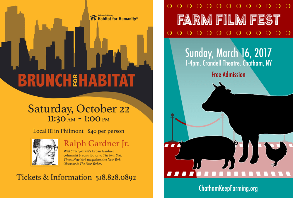 Habitat for Humanity Luncheon with Ralph Gardner and Chatham Keep Farm's Farm Film Fest 9 posters