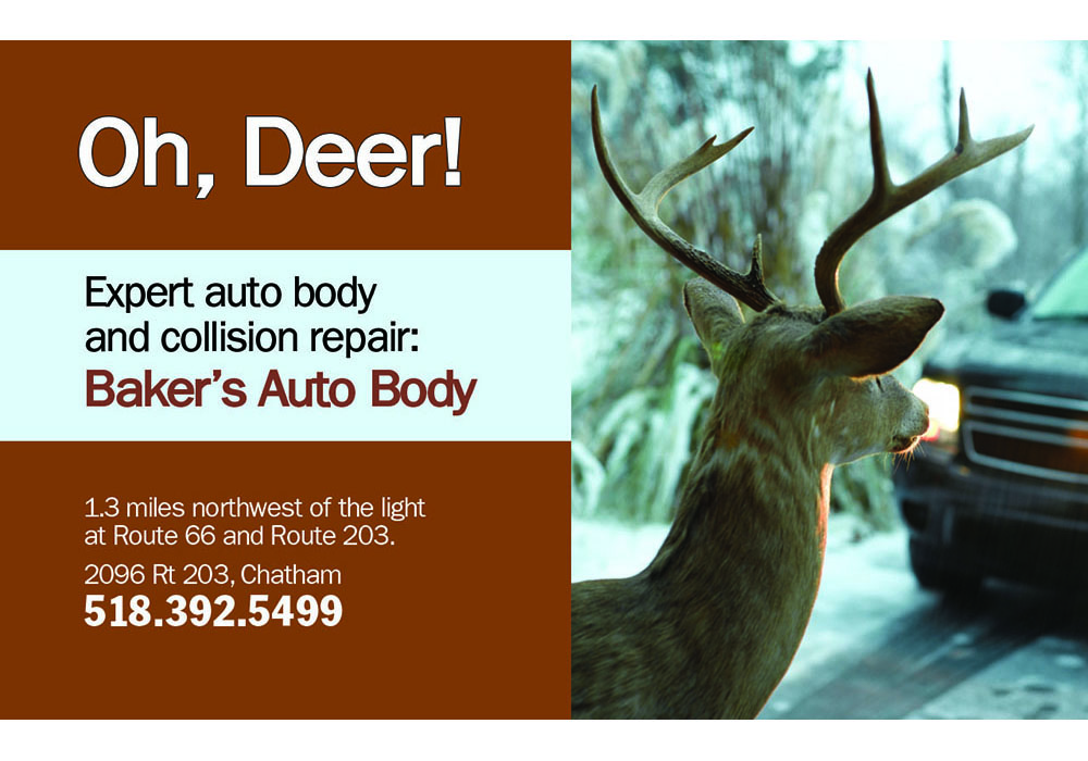 Movie slide (cinema advertising) for Baker's Auto Body - designed by Trevellyan.biz, Columbia County's graphic designer