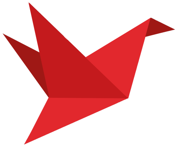 Red Paper Bird for animated gif created by Suzanne Trevellyan of Trevellyan.biz