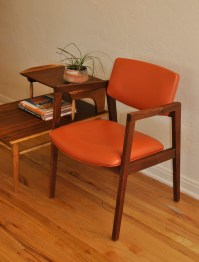 Mid Century Orange and Walnut Office/Desk Chair