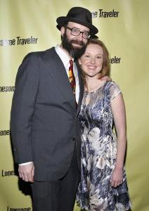 "Trevor and Sylvie at the off-Broadway opening of ""Lonesome Traveler."""