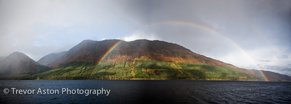 Rianbow over a Scottish loch