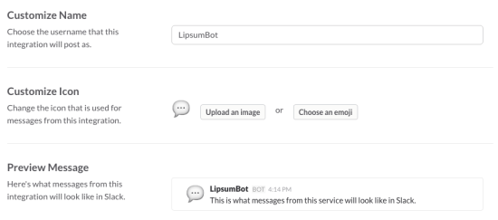 customize the slack bot appearance