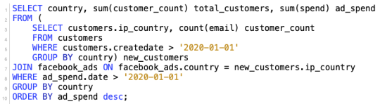 SELECT country, sum(customer_count) total_customers, sum(spend) ad_spend FROM ( 	SELECT customers.ip_country, count(email) customer_count 	FROM customers  	WHERE customers.createdate > '2020-01-01' 	GROUP BY country) new_customers JOIN facebook_ads ON facebook_ads.country = new_customers.ip_country WHERE ad_spend.date > '2020-01-01' GROUP BY country ORDER BY ad_spend desc;