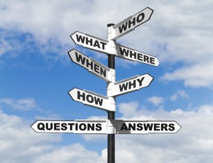 Questions and answers on a signpost.