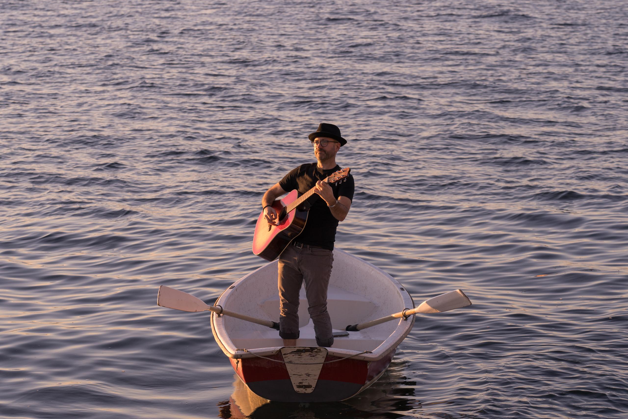 Trevor Ras, guitar at sea