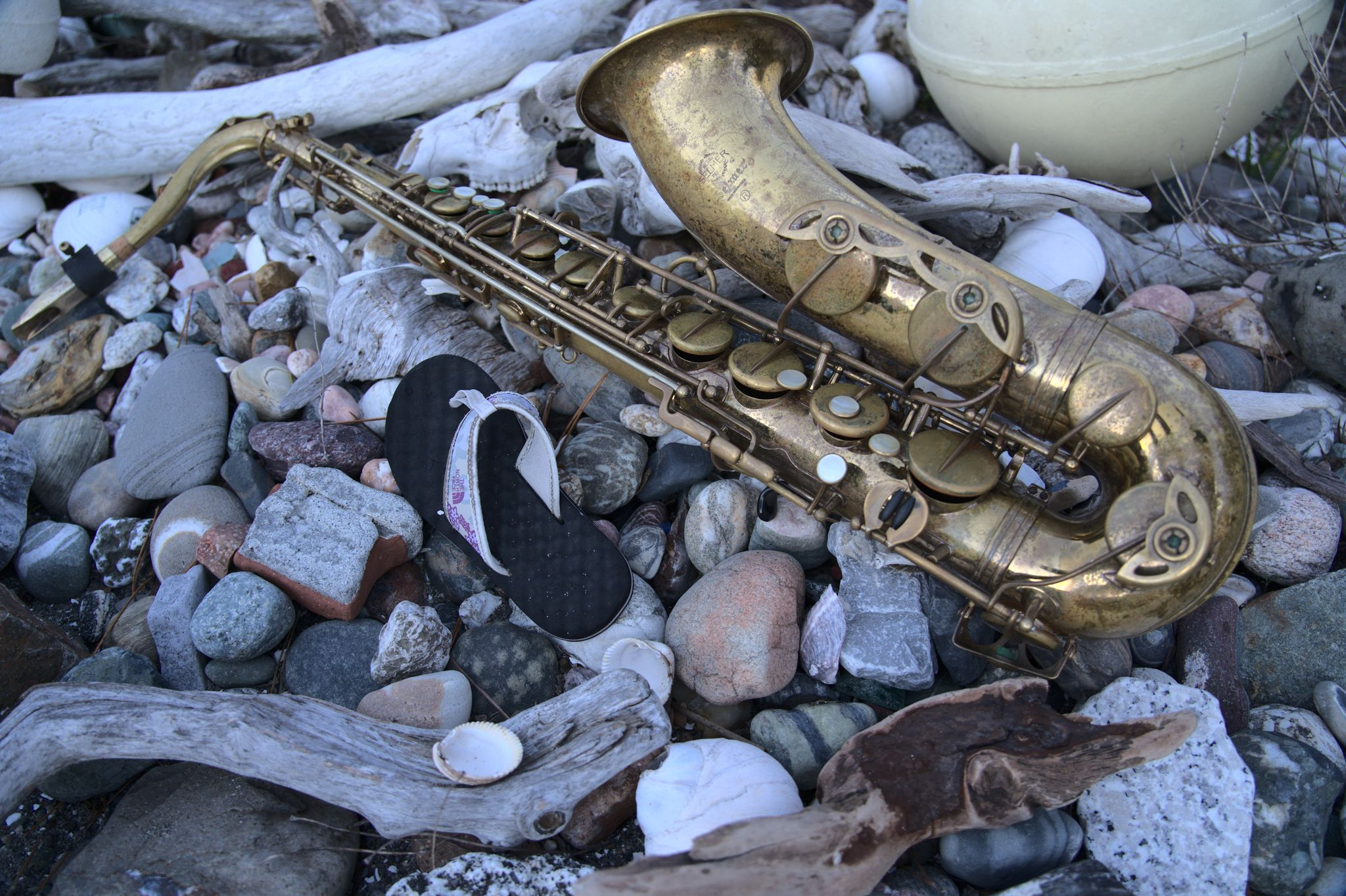 saxophone on beach