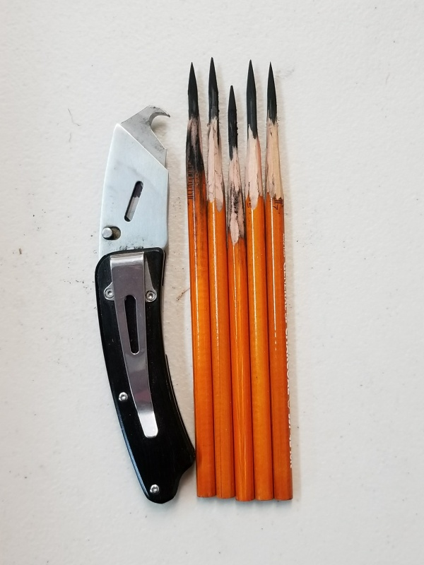Sharpened Charcoal Pencils