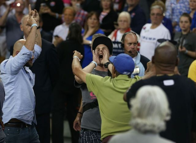 A protester at a Trump rally, not getting beaten up. Imagine that!