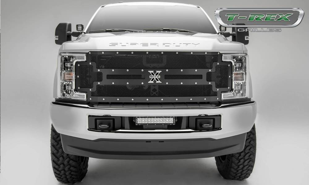medium resolution of 2017 2019 super duty x metal grille black 1 pc replacement chrome studs pn 6715471