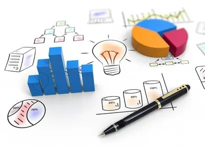 Business charts and graphs used in website design