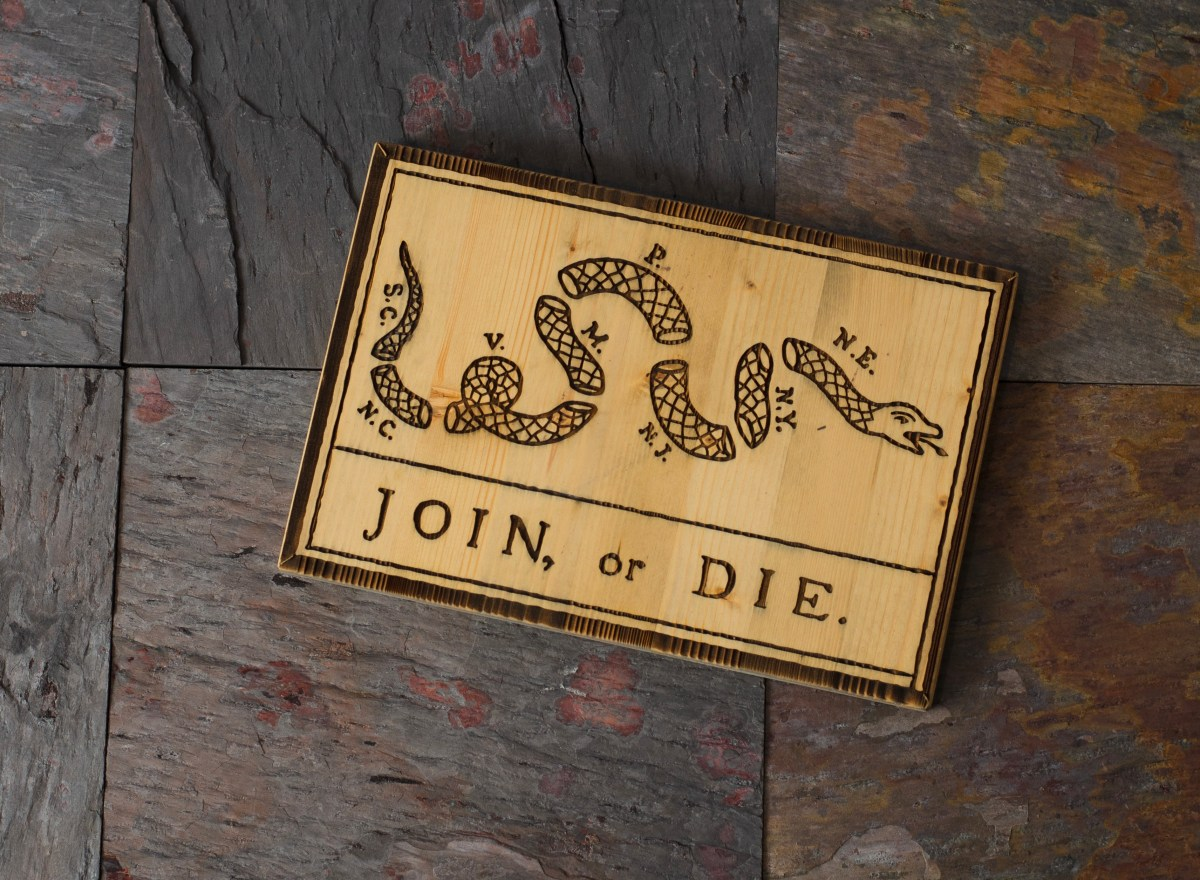 Join Or Die 12 X 8 Wood Art
