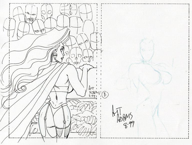 Original Comic Art: ARTHUR ADAMS LADY DEATH COVER PRELIMS