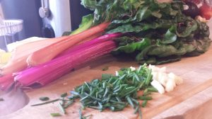 Swiss chard, with chives and garlic.