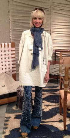 Tore up from the floor up. Bleach dyed mehendi-inspired bell bottoms pair well with an exaggerated Ikat rug.