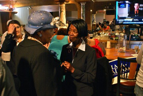 Sen. Earline Parmon of Forsyth County congratulated state Rep. Alma Adams at Boston's House of Jazz on winning her race for Congress.