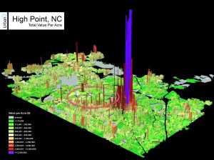 A real-estate visualization map produced by the Urban3 firm shows the concentration of wealth in downtown.