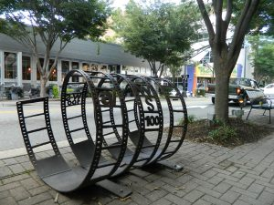 Functional art: A bike rack in front of A/perture Cinema