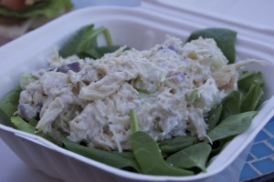 The chicken-salad salad with spinach and lettuce.
