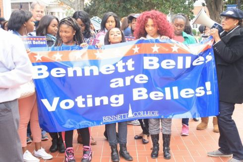 Alma Adams rallies Bennett College students to vote.