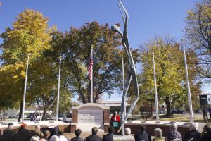 Mayor Nancy Vaughan at the unveiling of the veterans' memorial on Monday.