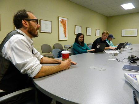 Triad City Beat Editor in Chief Brian Clarey speaks to students at Wake Forest University.