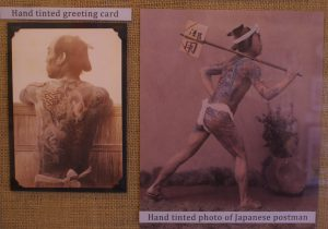 Two postcards show the ideal of irezumi, an elaborate Japanese tattooing style.