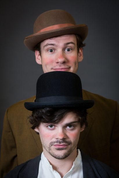Philip Kayser (rear) and Zac Pierce-Messick star as Estragon and Vladimir, two buddies in bowlers in an absurd, apocalyptic world.