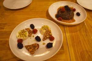 Panna cotta (left) and chocolate bread pudding