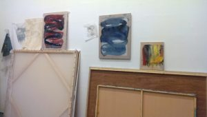 Experimental works hang on the walls of Phillips' studio, drawing the attention of those who drop by. (Sayaka Matsuoka)