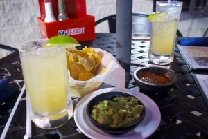 Guac, lime margaritas and chips
