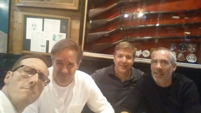 Left to right: the writer, the D, Ray Ray and one of the Mikes at Charlie Vergos' Rendezvous in Memphis.