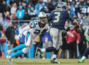 Josh Norman sacks Russell Wilson. [courtesy Panthers.com]