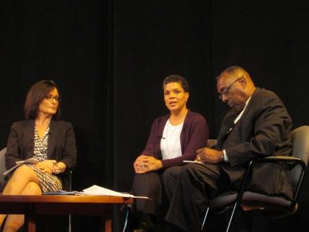 Mayor Nancy Vaughan, Michelle Alexander and the Rev. Nelson Johnson (l-r)