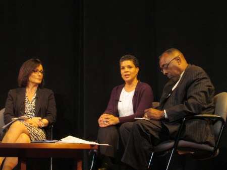 Mayor Nancy Vaughan, Michelle Alexander and the Rev. Nelson Johnson (l-r)